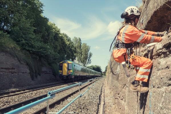 Rock Rock Face Stabilisation - Hagley Railway Cutting at Hagley railway cutting