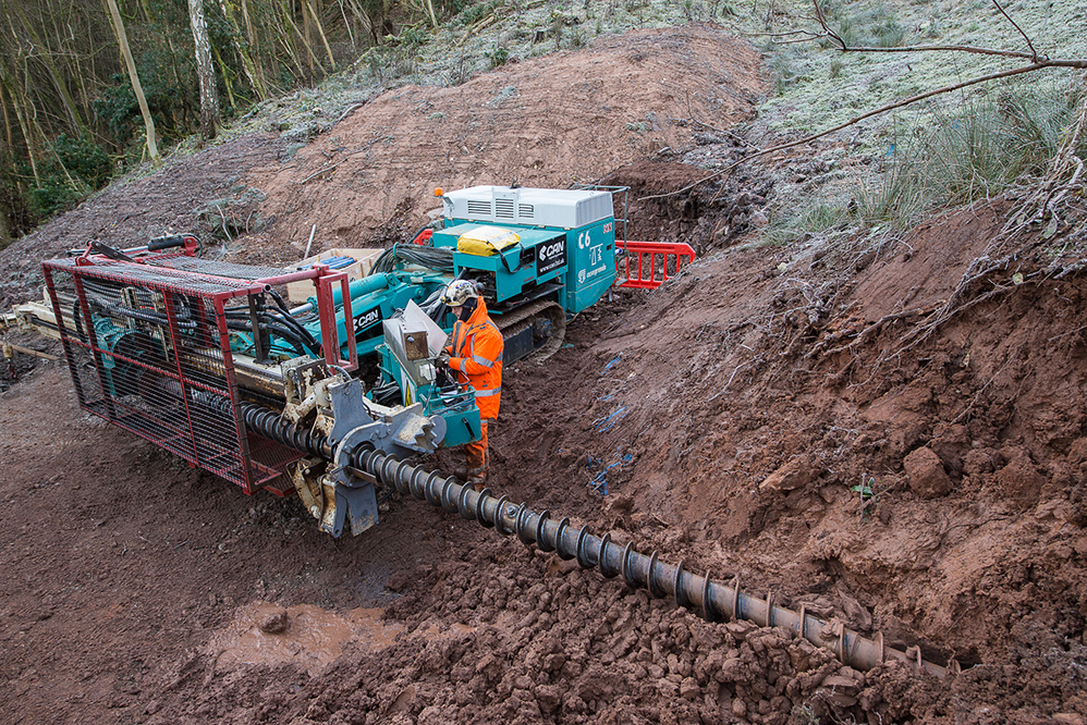 Casagrande C6 drill rig in use - Eden Brow Inclined Drains