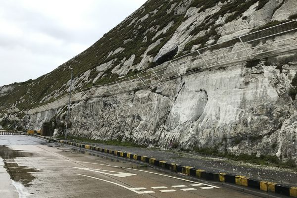 Rockfall catch fence installation at the Port of Dover